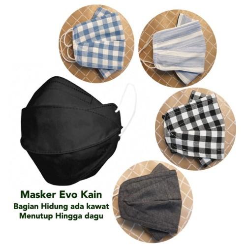 Foto Produk Masker Kain Ada Kawat Model Evo Tutup Hingga Dagu Bisa Di cuci - Tali Earloop dari Orire