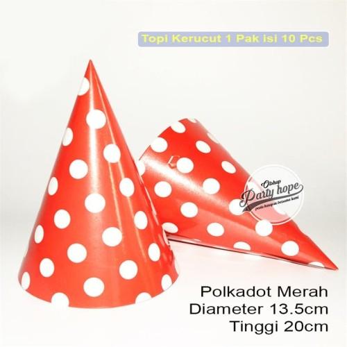 Foto Produk Topi kerucut polkadot merah / topi ultah polkadot / topi ulang tahun dari PARTY HOPE 2