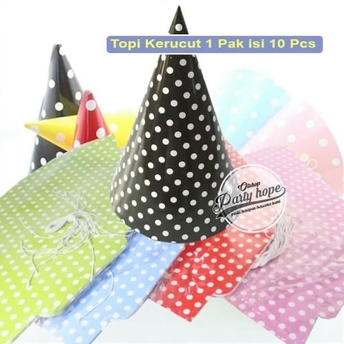 Foto Produk Topi Ulang Tahun Motif Polkadot / topi kertas kerucut ultah murah seru dari PARTY HOPE 2