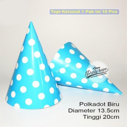 Foto Produk Topi kerucut polkadot biru / topi ultah polkadot / topi ulang tahun dari PARTY HOPE 2
