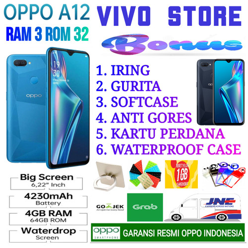 Foto Produk OPPO A12 RAM 3/32 GB GARANSI RESMI OPPO INDONESIA - abuabu no bonus dari VIVO ST0RE