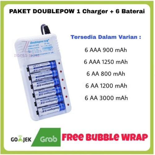 Foto Produk PAKET Doublepow Baterai Cas, 1 Charger + 6 Baterai Cas AA 1200 mAh - PK 6 AA 1200 dari ZigZag-Store