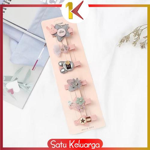 Foto Produk SK-C14 6PCS Jepit Rambut Model Pita Kartun Aksesoris Rambut untuk Bayi - KODE 01 dari Satukeluarga