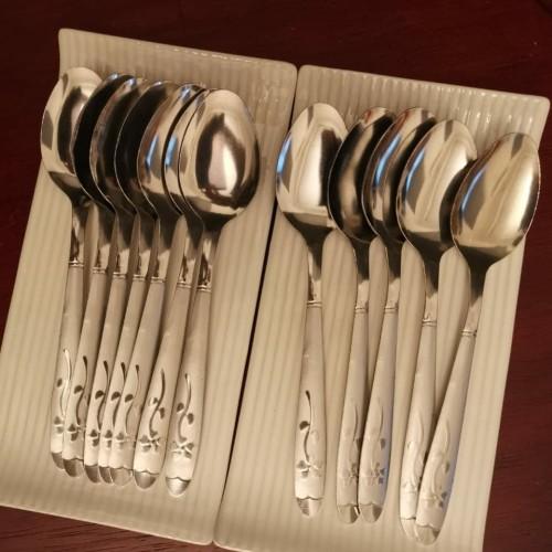Foto Produk sendok makan motif bunga / sendok stainless steel (6pcs) dari KOKO'DANNY