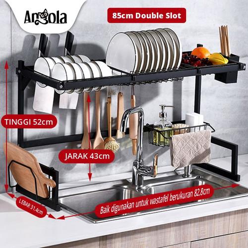 Foto Produk Angola Rak Piring Wastafel G01/G05 Stainless Rak Dapur Serbaguna - Double slot dari Angola Official Store
