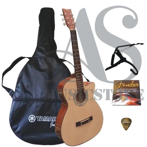 Foto Produk FULLSET Gitar Akustik Yamaha Natural Untuk Pemula dari sarabeautycare and music