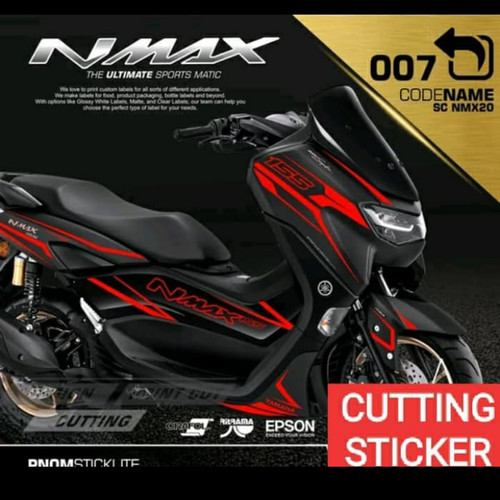 Foto Produk STRIPING CUTTING STICKER NEW NMAX For Motor Black-Sticker Red dari zerowaste