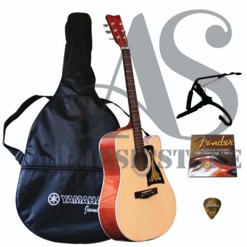 Foto Produk Gitar Akustik Yamaha F100 Jumbo Natural Fullset Murah dari sarabeautycare and music