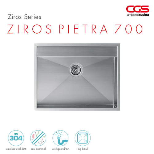 Foto Produk CGS ZIROS PIETRA 700 Stainless Kitchen Sink - Bak Cuci Piring dari CGS Indonesia