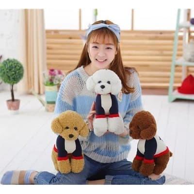 Foto Produk Boneka Anjing Teddy Doll Boneka Lucu Boneka Anak Boneka Peliharaan - Putih dari happykidsolshop