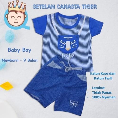 Foto Produk Baju Setelan Kaos Bayi Canasta 3D, Usia 3 - 9 BL Bahan Lembut dan Adem - Footbal, Biru dari SVN Queenpy