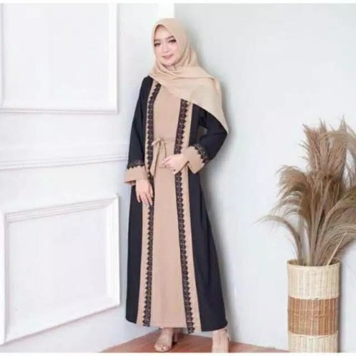 Foto Produk Gamis sabyan mouna busui bahan wolfis / Gamis sabyan / Gamis Cantik - COKLAT HITAM dari hijabquejepara