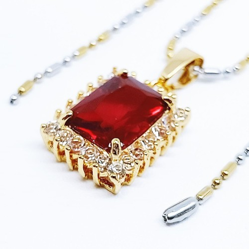 Foto Produk Kalung Liontin Batu Kristal Merah Delima Cutting Kotak - VeE Kalung dari Vee Jewelry