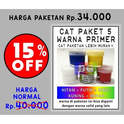 Foto Produk Cat Tekstil / Lukis utk kaos / kanvas / tas / sepatu - paket 5 warna dari DG Toko