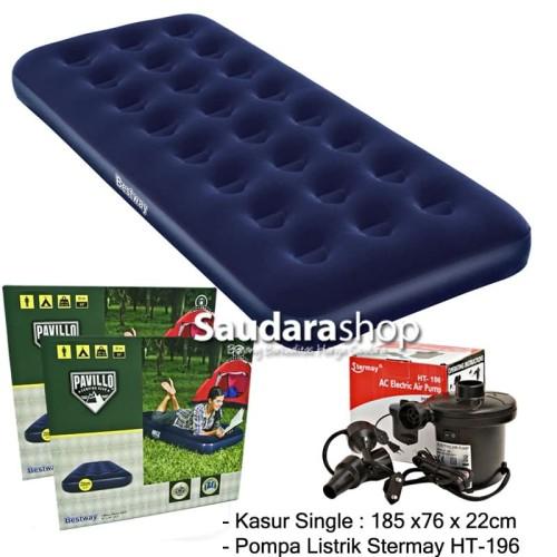 Foto Produk Bestway 67000 Kasur Angin Single [185cm x76cm x 22cm] + Pompa 58090 - 67000-stermay dari Saudara Shop
