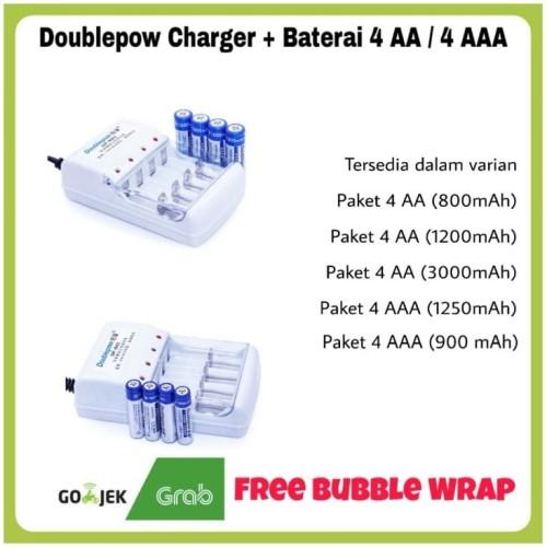 Foto Produk Doublepow Charger + 4 Baterai AA / AAA / Paket Baterai Cas Doublepow - Paket AA 1200 dari ZigZag-Store
