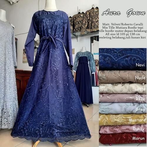 Foto Produk AuraGown (Standart dan Jumbo)/ Gamis Brokat Modern / Baju Muslim Syari - Navy, Standart dari Bajukuuh