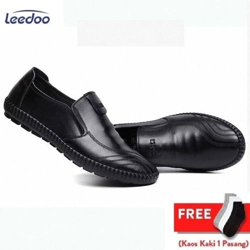 Foto Produk Sepatu Pria Pantofel Kantor Sepatu Kulit Sintetis Karet Anti Air MC403 - Cokelat, 44 dari Leedoo
