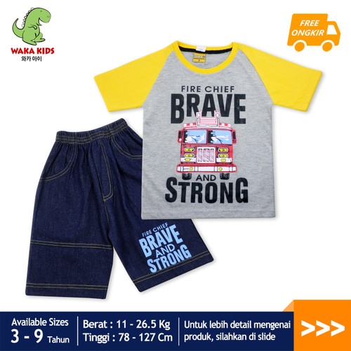 Foto Produk Skabe Baju Anak Laki Laki Fire Truck Setelan Jeans Usia 3-9 Tahun 3389 - Kuning, 3-4 tahun dari wakakids