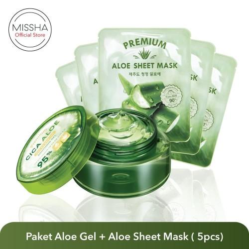 Foto Produk Missha Paket : Cica Aloe Gel & Aloe Mask (5 pcs) dari Missha Indonesia