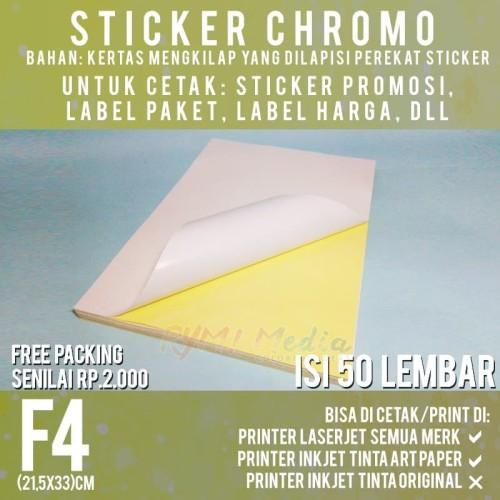 Foto Produk Sticker Chromo F4 isi 50 / Kertas Stiker Bontax Glossy Mengkilap Folio dari RYM Media