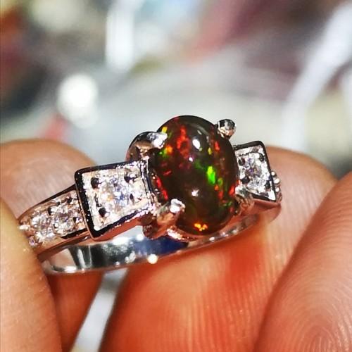 Foto Produk Cincin wanita natural kalimaya black opal crystal top jarong spn307 dari Sinar Permata Nusantara