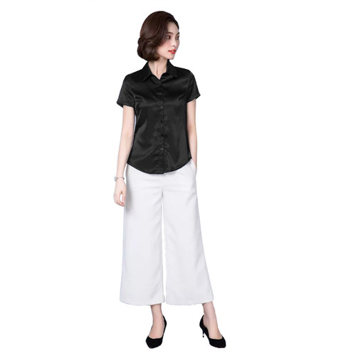 Foto Produk Kemeja Wanita Gaya Korea Lengan pendek Murah Terbaru - Jfashion Haruka - Hitam, M dari j--fashion