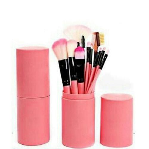 Foto Produk Kuas Make up Isi 12 Pcs Tabung Make Up Brush Tabung - Merah Muda dari One Of Kind Shop