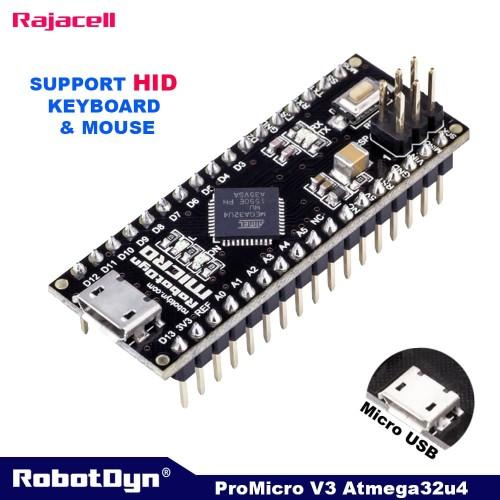 Foto Produk Robotdyn Arduino Pro Micro Atmega32U4 Leonardo Compatible Board - PIN BLM SOLDER dari RAJACELL BEKASI