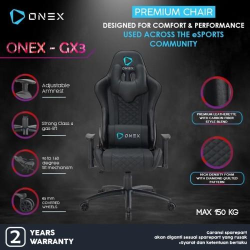 Foto Produk ONEX GX3 Premium Quality Gaming Chair Kursi Gaming YOUTUBER GAME HITAM dari Supermassive Indonesia