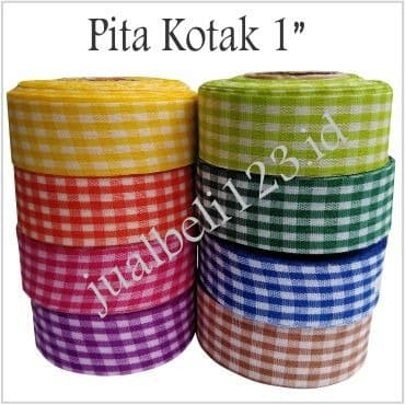 Foto Produk Pita Kain Motif Kotak 1 inch - Hijau Muda dari JASA SABLON BORDIR