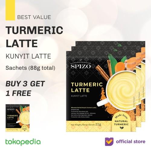 Foto Produk Buy 3 Get 1 Turmeric Latte Golden Milk (Kunyit, Jahe) Sachet Bubuk dari SPIZO