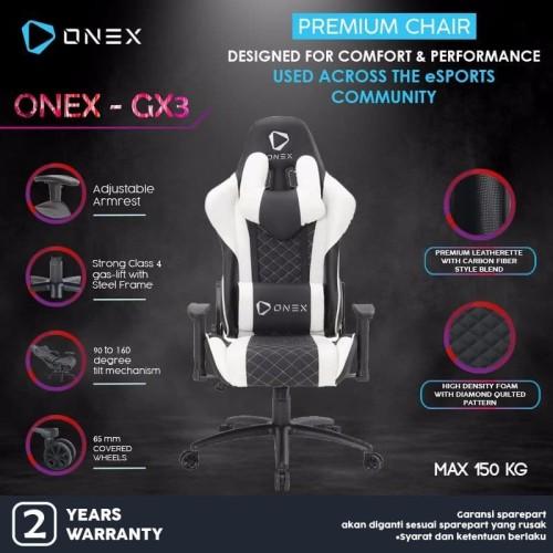 Foto Produk ONEX GX3 Premium Quality Gaming Chair Kursi - Putih dari ONEX INDONESIA
