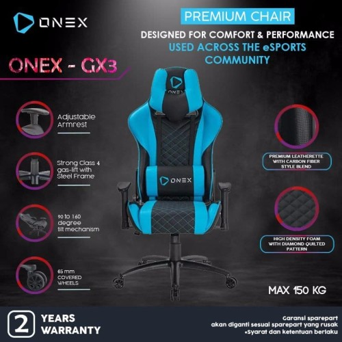Foto Produk ONEX GX3 Premium Quality Gaming Chair Kursi - Biru dari ONEX INDONESIA