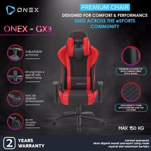 Foto Produk ONEX GX3 Premium Quality Gaming Chair Kursi - Merah dari ONEX INDONESIA