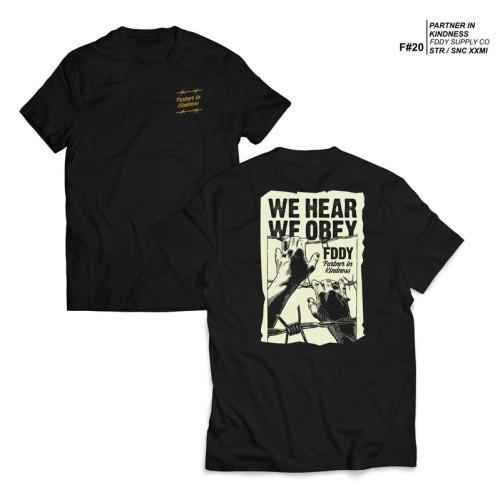 Foto Produk FRUDDY DUDDY - FDDY - KAOS HITAM - WE HEAR OBEY - XL dari Fruddy Duddy