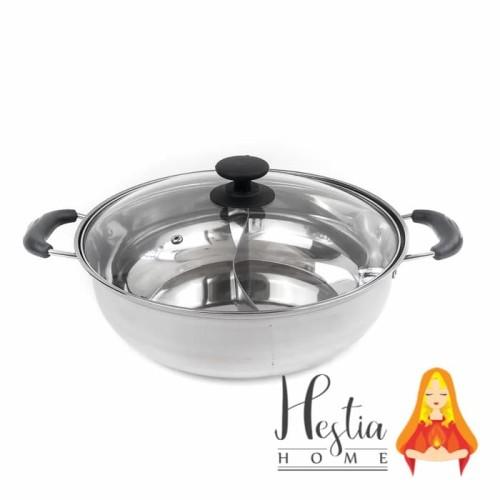Foto Produk Panci Shabu / Suki 2 Sekat 30 cm Kuah Hotpot / Hot Pot dari HESTIA HOME