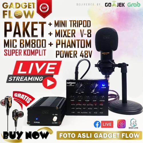Foto Produk PAKET KOMPLIT Mic BM800 BM 800 BM-800 Soundcard V8 Phantom Power 48V - Gold dari Gadget Flow