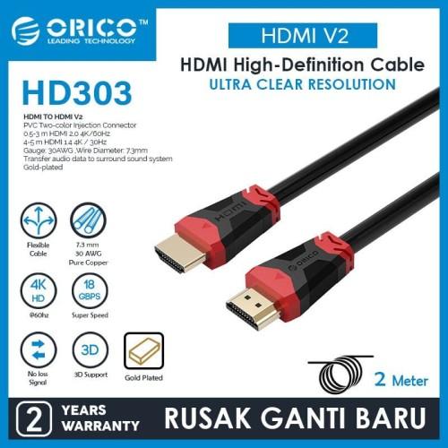 Foto Produk ORICO HD303-20 HDMI 2.0 High-definition Cable - 2 meter dari ORICO INDONESIA
