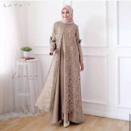 Foto Produk Baju Gamis Syari Muslim Wanita Terbaru Laura Maxi Brukat Dress Pesta dari Glory Hijab
