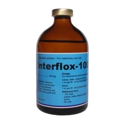 Foto Produk INTERFLOX-100 100 ML / ENROFLOXACIN / OBAT PENCERNAAN & KENCING HEWAN dari vetma pet and poultry