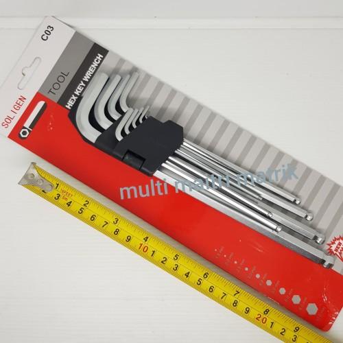 Foto Produk Kunci L set panjang Soligen 9pcs C03 / hex key wrench ballpoint 9 pcs dari multi Maitri matrik