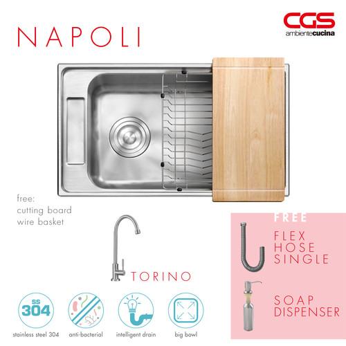 Foto Produk Paket Promo: CGS Napoli Kitchen Sink + Kran Air CGS Torino dari CGS Indonesia