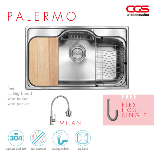 Foto Produk Paket Promo: CGS Palermo Kitchen Sink + Kran Air CGS Milan dari CGS Indonesia