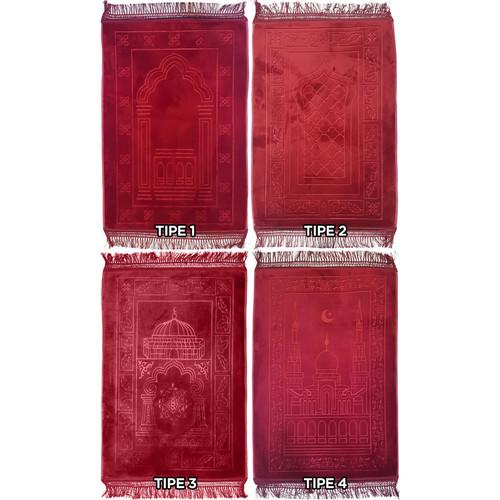 Foto Produk Karpet Sajadah Al-Azhar 70 x 110 cm Premium Halus Lembut Empuk - Merah, Tipe 1 dari JAMAS Carpet