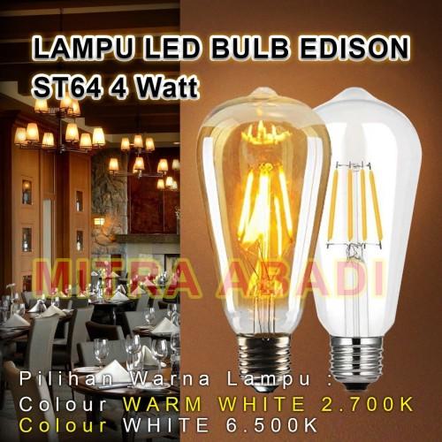 Foto Produk Lampu Bulb LED Filamen Edison Vintage ST64 4 Watt/4W Fitting E27 - Lampu Warm Whit dari Toko Mitra Abadi