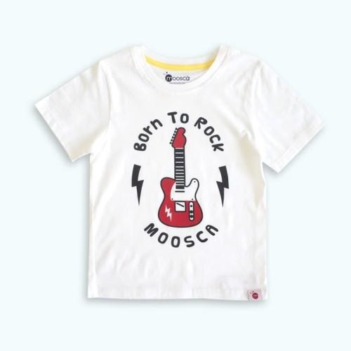 Foto Produk Moosca Kidswear Kaos Anak Born to rock - White - Size 6 dari Moosca Kidswear