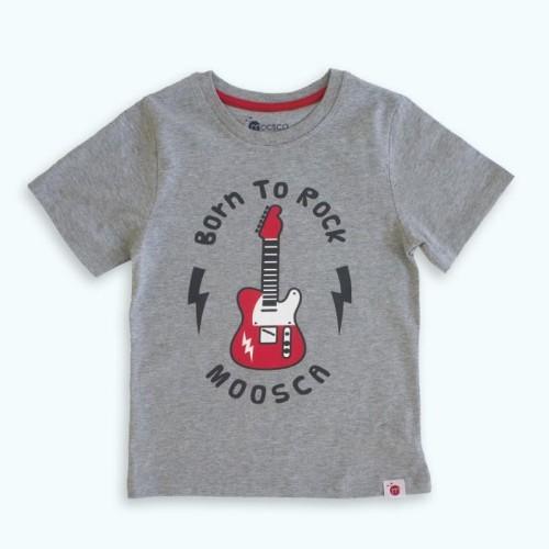 Foto Produk Moosca Kidswear Kaos Anak Born To Rock - Grey - Size 5 dari Moosca Kidswear