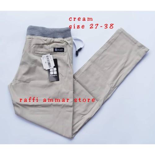 Foto Produk celana panjang chino kolor pria rip pinggang karet premium - Hitam, 36-38 dari RAFFI AMMAR STORE