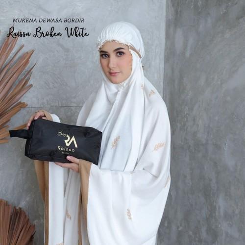 Foto Produk Mukena Dewasa Bordir Raissa Broken White dari Pusat Mukena Indonesia